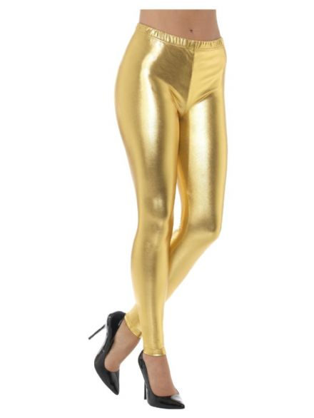 80's Metallic Disco Leggings in Gold